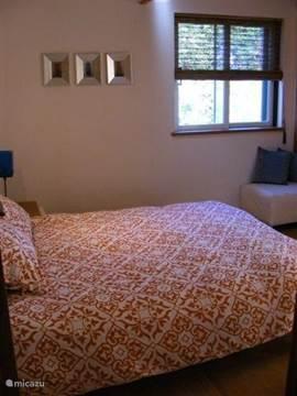 Tweepersoons slaapkamer met televisie en DVD speler. Ook deze slaapkamer heeft directe toegang tot het dakterras
