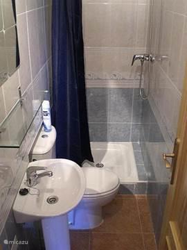 Badkamer begane grond met douche,toilet,spiegel en wastafel.