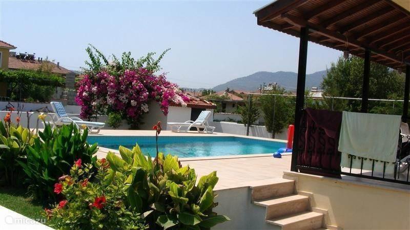 De tuin, het terras en het zwembad