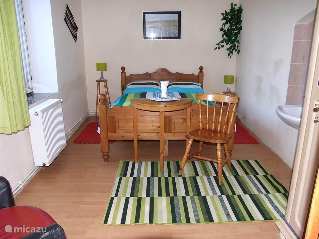 Slaapkamer met een tweepersoonsbed en een vastewastafel