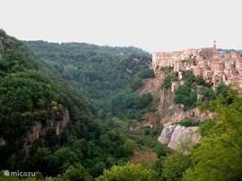 Groene omgeving met veel grotten en oude Etruskische paden.