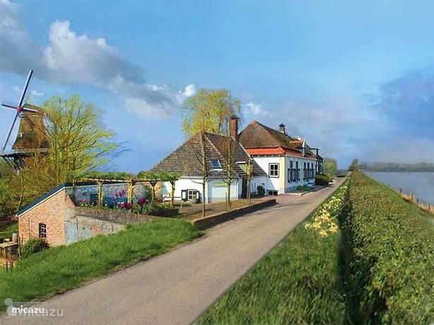 De molen Houdt Braef Stand, De Droomengel (L) en De Nieuwe Engel, pal aan de mooie meanderende IJssel. U kunt heerlijk over de lange slingerende dijk fietsen en langs de oever wandelen