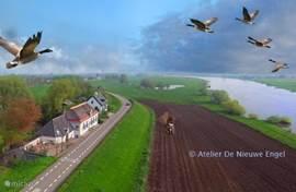 De schitterende ligging van De Droomengel pal aan de meanderende IJssel. U kunt heerlijk fietsen of touren over de slingerende dijk naar bijvoorbeeld Hanzesteden Deventer, Hattem en Zutphen. Vanuit het verblijf loopt nu zo naar de oever voor een heerlijke wandeling of picknick.