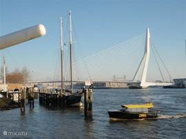 De snelle watertaxi vertrekt vanuit de Veerhaven