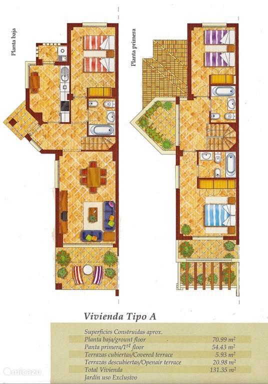 Plattegrond binnen, zowel begane grond als verdieping