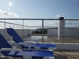 Ligstoelen op privé dakterras