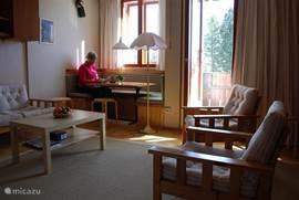 Hier zie je de eethoek en het zitgedeelte. Bedden zitten rechts van de losse stoelen, zie je niet, die klap je uit de muur en 's ochtends weer in de muur.. Eethoek kan je ombouwen tot bed als je dat perse wilt!) Verder zie je stukje van  3 zitsbank en 2 losse stoelen.