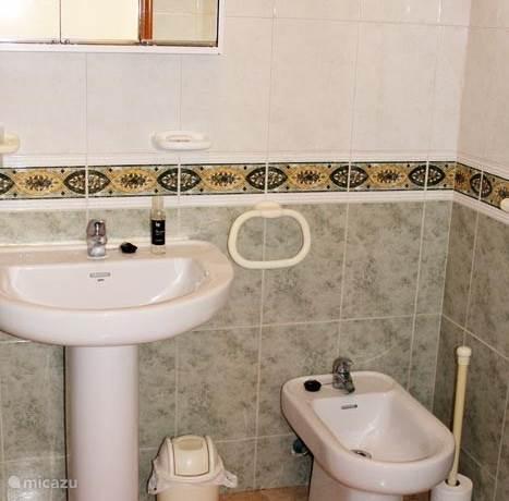 badkamer met wastafel / bidet / toilet en inloop douche.