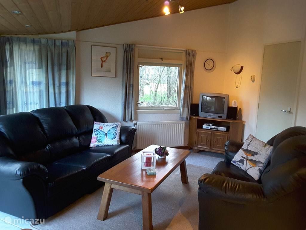 De woonkamer: deze is voorzien met een 2 en 3 zits bank en div apparatuur zoals een tv radio/cd speler en een dvd speler
