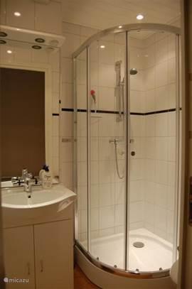 Recent gerenoveerde compacte badkamer met douche van 90x90 met thermosstaatkraan, WC en wastafel met mengkraan.