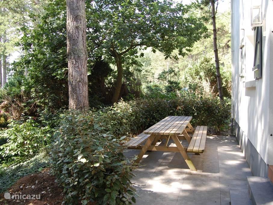 Acher de woning (zon vanaf de middag tot de avond) vindt u een ruim terras met een royale 8 persoons picknicktafel. Dit terras is direct bereikbaar vanuit de keuken zodat u hier heel gemakkelijk buiten kunt eten en genieten van het goede franse leven. U heeft dus de beschikking over 2 terrassen beid