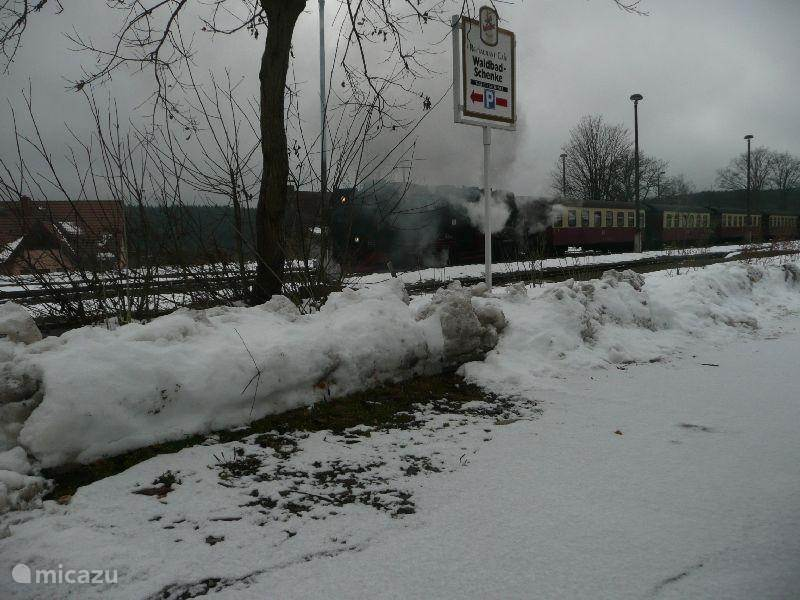 Steam train in the winter