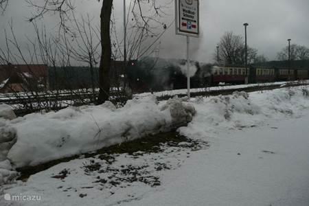 Stoomtrein in de winter