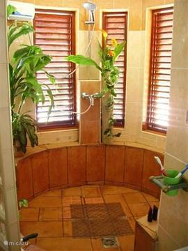 The bedroom at the pool has a beautiful bathroom with a marble floor and a tropical shower.