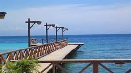 De pier van het strand van Pirate Bay maakt op alle tijden van de dag een mooi plaatje. Bekende Nederlanders komen er dineren bij maanlicht en ook voor u ligt die mogelijkheid open, want het Pirate Bay strand hoort bij het Piscadera Bay Resort waar Villa Luna ligt.