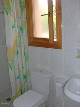 Badkamer met toilet, douche en wastafel