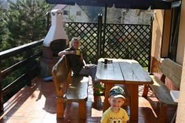 Dit is ons heerlijke verhoogde terras met grote bbq/haard!
