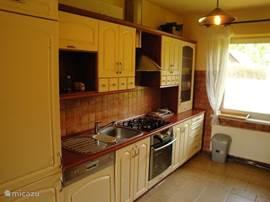Keuken met uiteraard een vaatwasser en o.a. een grote koelkast met extra vriesvak, een oven. Op het werkblad aan de andere zijde staat ook een combi-magnetron, koffiezetapparaat (+ Senseo) en een waterkoker.