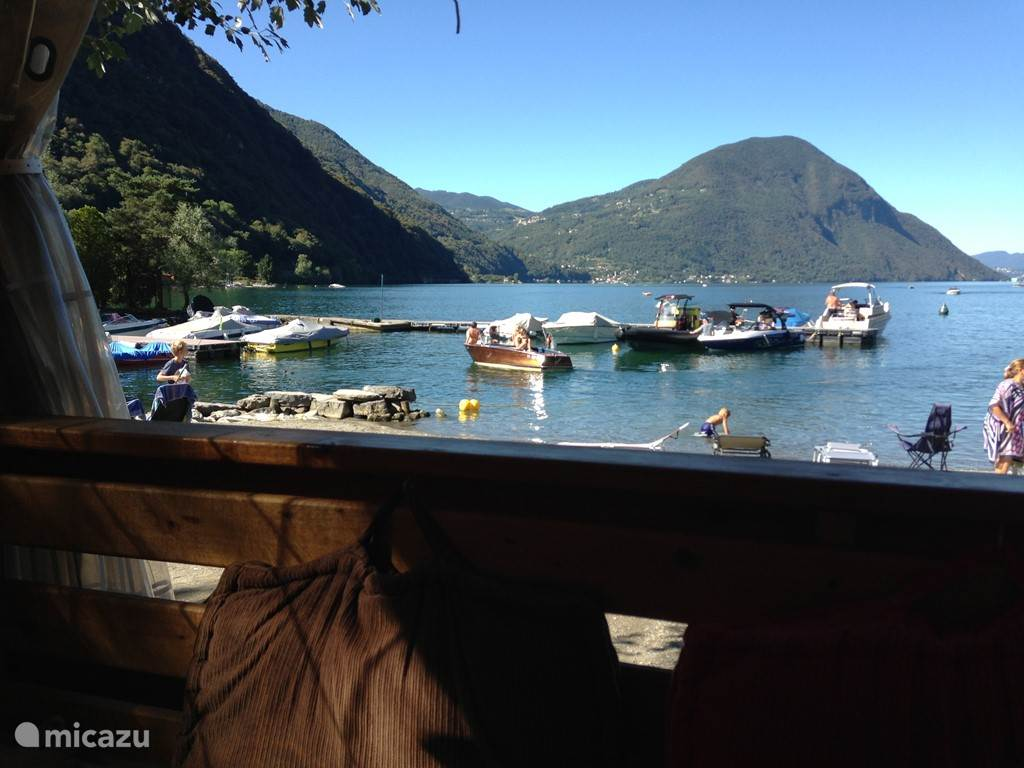 A view to a kill from the porch of the Chalets Baleno Sicure at Lake Lugano
