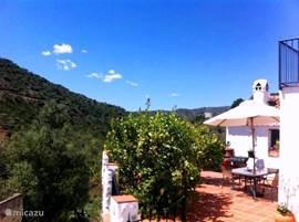 Op het terras kun je heerlijk in de zon of schaduw genieten van het Spaanse weer en landschap.  Er is een grote tafel en parasol aanwezig waar je met z'n allen gezellig kunt zitten met een hapje of drankje.   Er is een gasbarbecue aanwezig, zodat het heerlijk eten direct geserveerd kan worden.