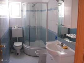 Spacious bathroom with spacious shower.