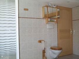 The bathroom upstairs has a hanging toilet