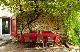 The spacious terrace is lovely sheltered under the grape vines. Here long tables and enjoy the silence and starry.