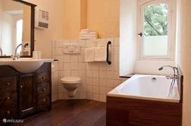 The bathroom on the first floor is spacious and equipped with bath and separate shower, a toilet and sink.