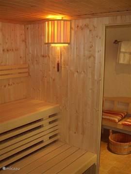 Gezellig in de sauna, je kunt er wel met 8 personen tegelijk in