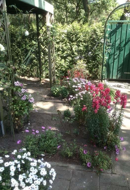 Vanaf de veranda naar het prieel genomen, op deze foto is de poort te zien, die tuin afsluit en uw privacy optimaliseert, al is het een heel rustig park.