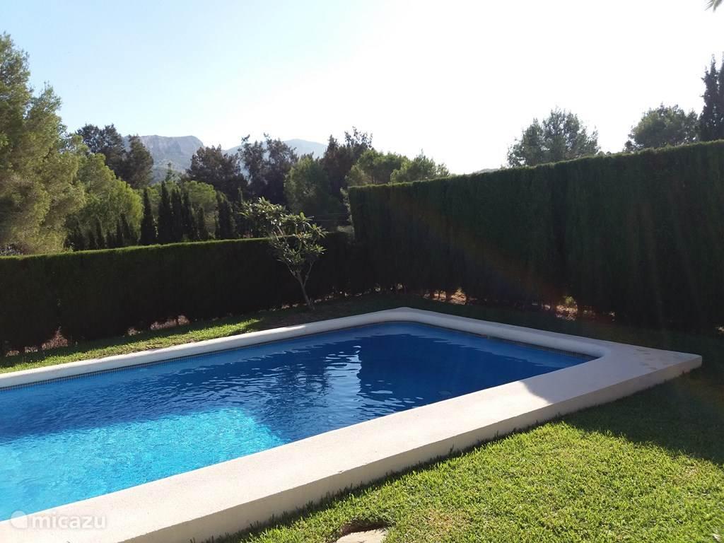 Achtertuin met zwembad, nu gezien vanaf het terras. Helemaal privé met uitzicht op veel groen en golfbaan  (op foto niet te zien door de bomen). In de avond kunt u de tuin extra gezellig maken. Er is buitenverlichting en verlichting in zwembad! S'avons zwemmen is nu wel heel erg spannend.