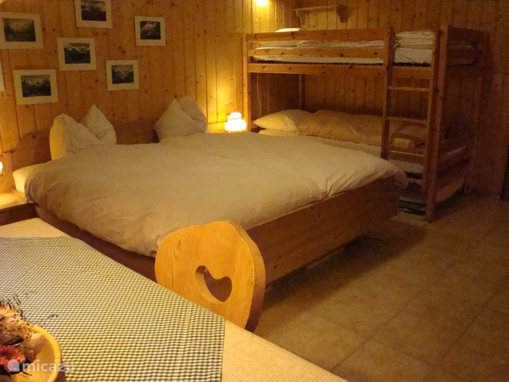 2 bed (with 2 single mattresses) and bunk in the guest house