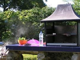 The outdoor kitchen with barbecue