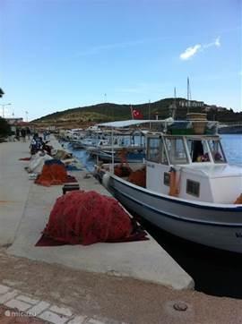 De boten van de vissers van Datca. Direct bij aankomst van de boten in de haven, vroeg in de ochtend, kopen de bewoners van Datca er hun verse vis voor de avondmaaltijd.