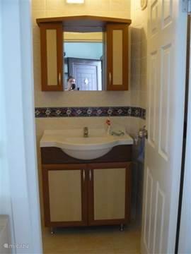 De badkamer is klein maar functioneel. Een wastafel, toilet en douche.