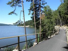 The beautiful newly laid path around the Lipno lake. You can go to Frymburk bikes - with the pound cross - and then through the side of the lake back to cycling Lipno. A good workout. In lipno and Frymburk are good bikes and electric bikes for rent!
