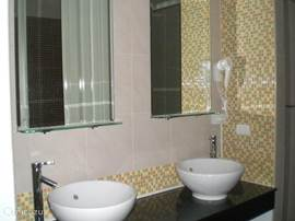 Dubbele wasbak in één van de badkamers.