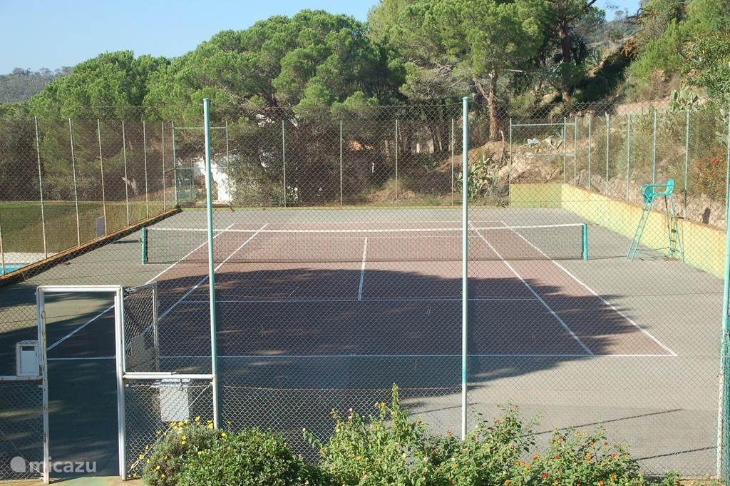 De tennisbaan is vrij te gebruiken voor onze huurders.