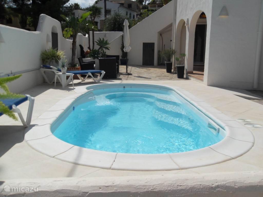 Zwembad met zonneterras van de benedenwoning. Heerlijke luxe, twee zwembad en twee woningen, maar toch in 1!