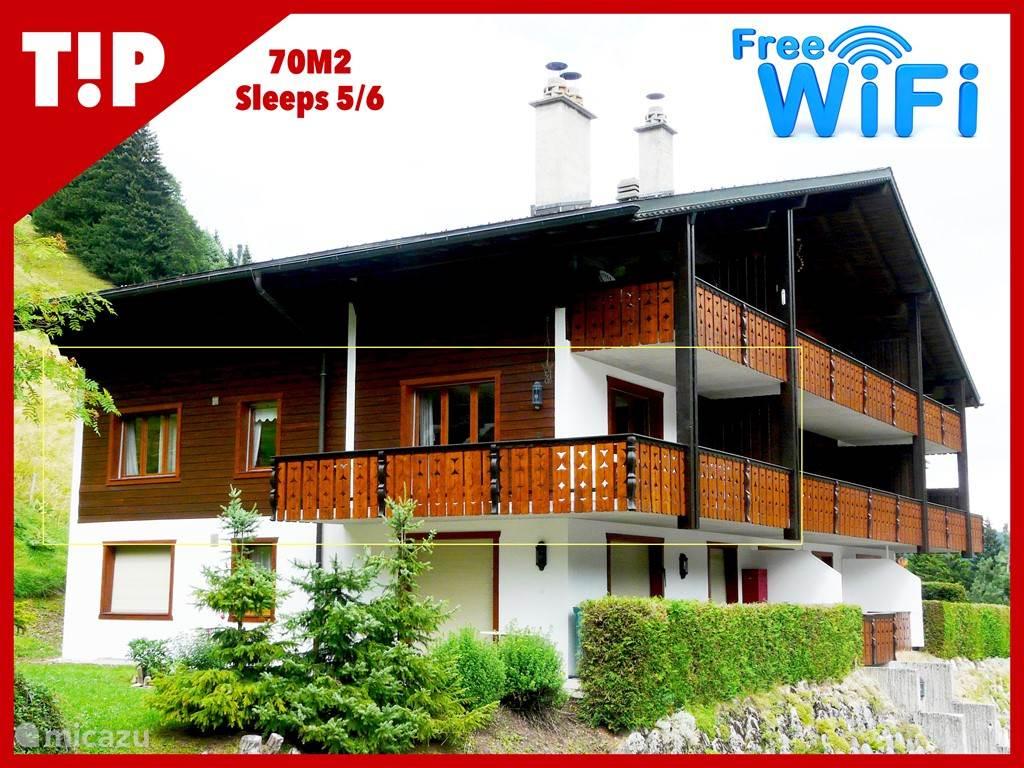 Vakantiehuis Zwitserland – appartement Charmant 3-kamer Appartement + Wifi