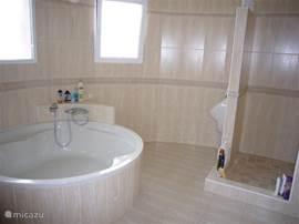 Badkamer bij masterbedroom. Hierin een groot rond bad, aparte douche, wastafel en apart urinoir.
