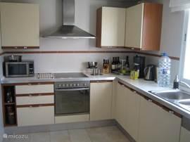 De complete keuken met vaatwasser, diepvries koelkast oven en magnetron.