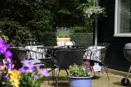 Het terras aan de achterzijde van de woning, met zicht op het bos/de tuin, voorzien van tafel met 4 stoelen en vier luie ligstoelen.