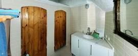 De badkamer met wastafel, douche en toilet (achter de deuren).