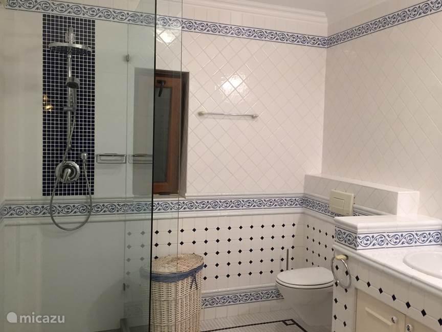 Badkamer en-suite (Azul) op de begane grond. luxe Inloopdouche, toilet, dubbele wastafels. Verwarming.