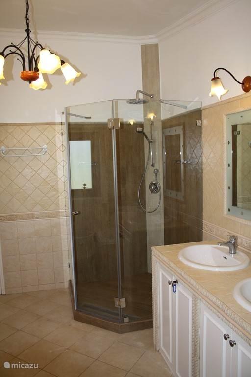 Luxe grote badkamer met grote inloopdouche, rainshower, dubbele wastafel, ligbad en wasmachine. Gelegen op de eerste verdieping direct aan de slaapkamer (master bedroom) en dakterras.