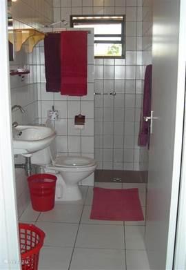 volledig betegelde badkamer met wastafel + toilet en warm + koud stromend water in de ruime douche.
