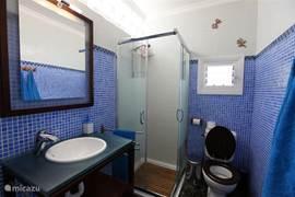 De badkamer op de begane grond bij de master-bedroom.