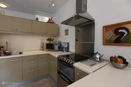 Een moderne keuken van alle gemakken voorzien.