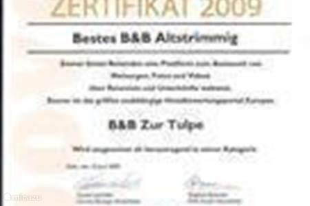 Certificering BESTE B & B en rapportcijfer 9.1